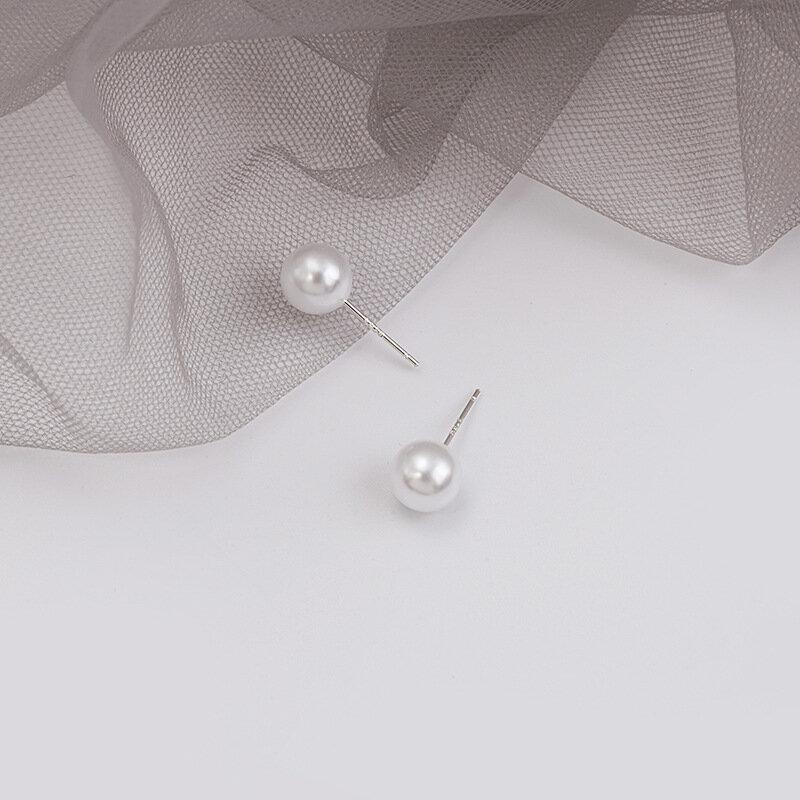 الفضة مزاجه أقراط اللؤلؤ بسيطة تنوعا Ol التنقل 8 مللي متر أقراط اللؤلؤ