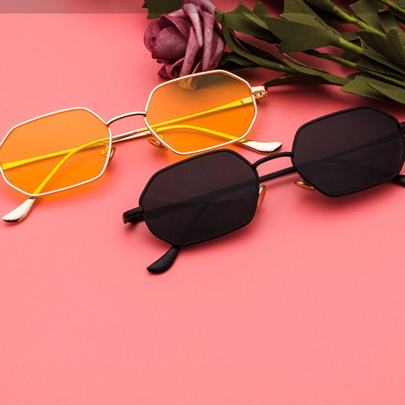 مضلع النظارات الشمسية الرجال خمر المثمن المعادن النظارات الشمسية للنساء الفاخرة العلامة التجارية حملق نظارات شمسية السيدات نظارات شمسية
