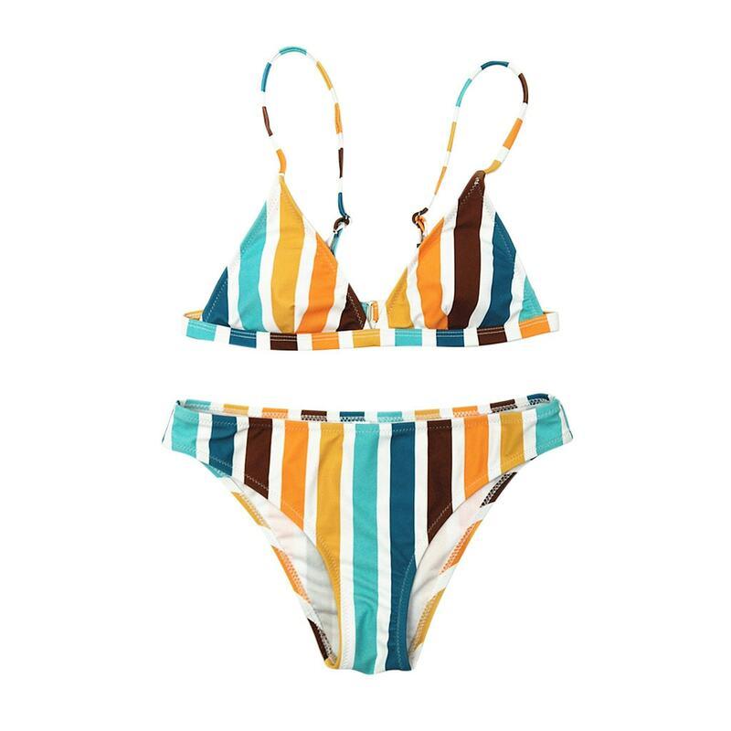 بيكيني 2021 قوس قزح مخطط طباعة ملابس السباحة ثوب سباحة مثير ضمادة Tankini شاطئ ملابس النساء tankini ثوب السباحة النساء