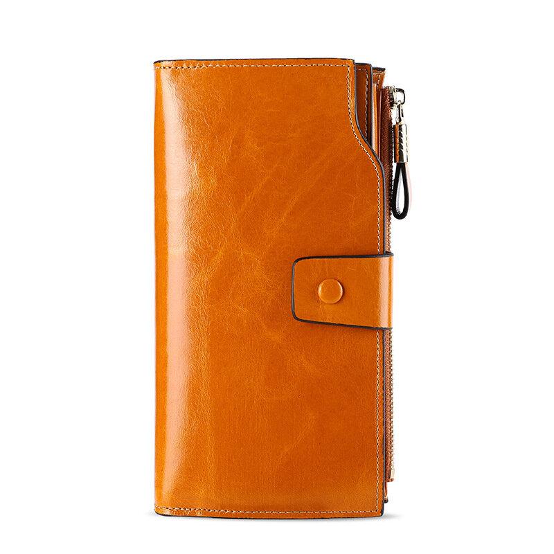 Vintage النساء الفاخرة محافظ جلد طبيعي طويل سستة مخلب محفظة سعة كبيرة محفظة حمل بطاقات