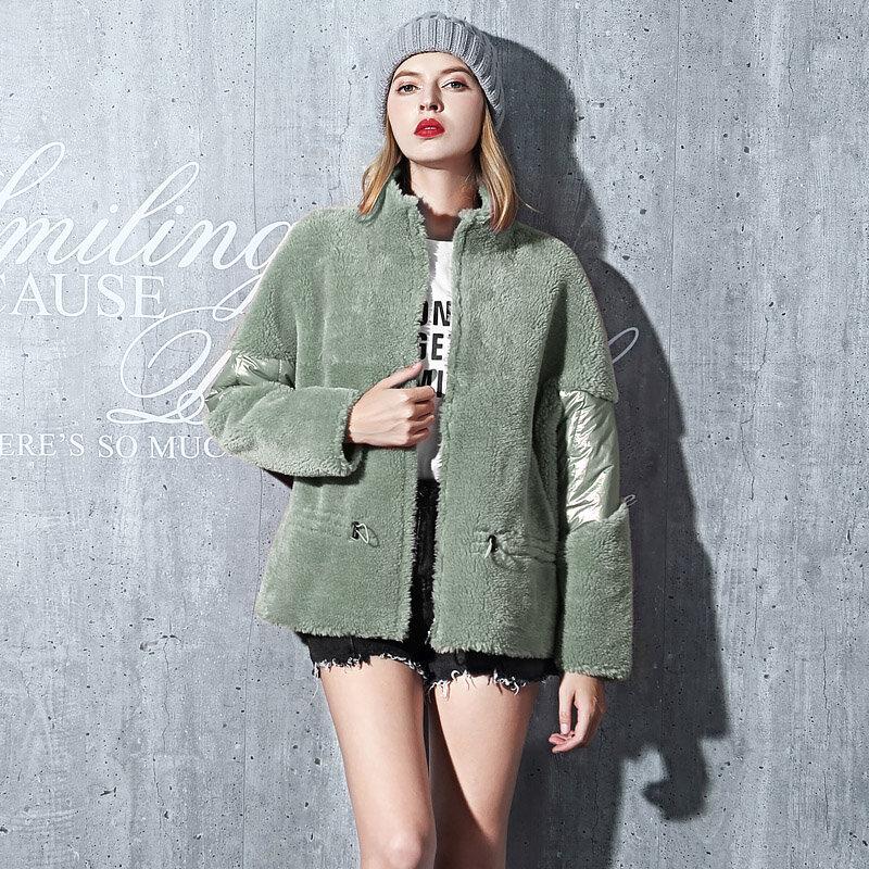 موضة عالية الجودة 100% حقيقي الصوف الفراء معطف الخريف الشتاء الإناث سترة 2020 معاطف وسترات النساء Ropa De Mujer Zjt1335