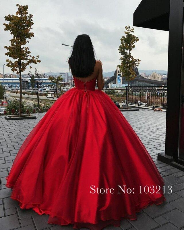 فساتين سهرة حمراء بدون الكتف على شكل قلب من التل لحفلات التخرج فستان المشاهير Vestidos Largos De Noche