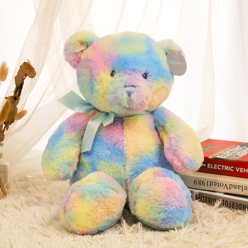 لطيف قوس قزح دمية دب الحيوانات أفخم محشوة اللعب الباندا لعب للبنات الأطفال هدية عيد ميلاد النوم دمية