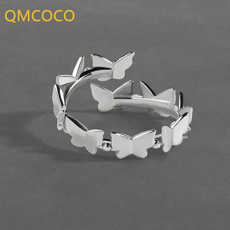 QMCOCO 925 الفضة سطح أملس العصرية خواتم بسيطة للنساء الأزواج جديد عصري أنيق فراشة الزفاف العروس مجوهرات هدايا