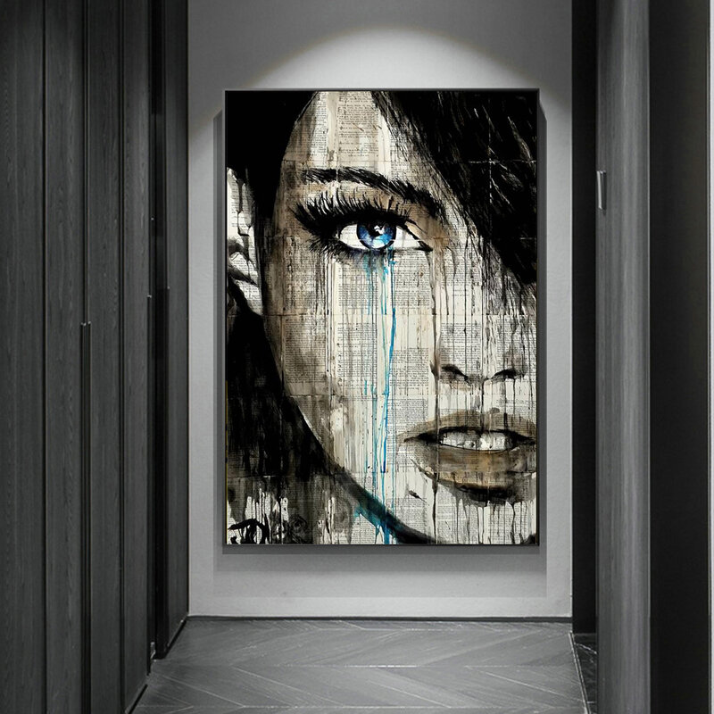 مجردة الكتابة على الجدران امرأة الوجه الملصقات يطبع الشمال امرأة صورة حائط لوح رسم صورة فنية ديكور المنزل غرفة المعيشة