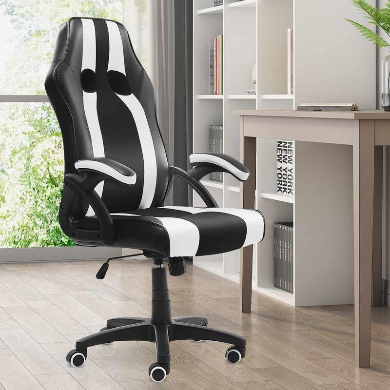 كرسي مكتب أسود أبيض ألعاب نوع الكمبيوتر مكتب كرسي مكتب مكتب الألعاب كرسي دوار كرسي العمل مع كرسي داعم للفقرات القطنية