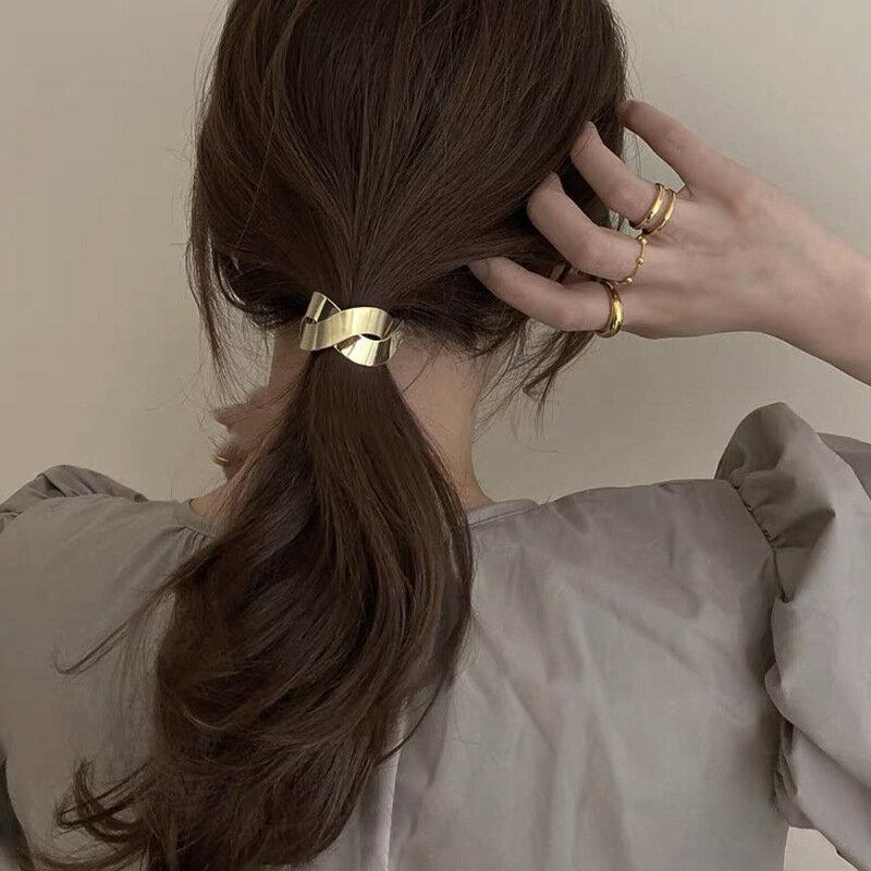 موضة المعادن مطاطا رباط شعر كوريا إكسسوارات الشعر للفتيات النساء اليدوية الشعر التعادل عصابة رأس توك شعر الحلي