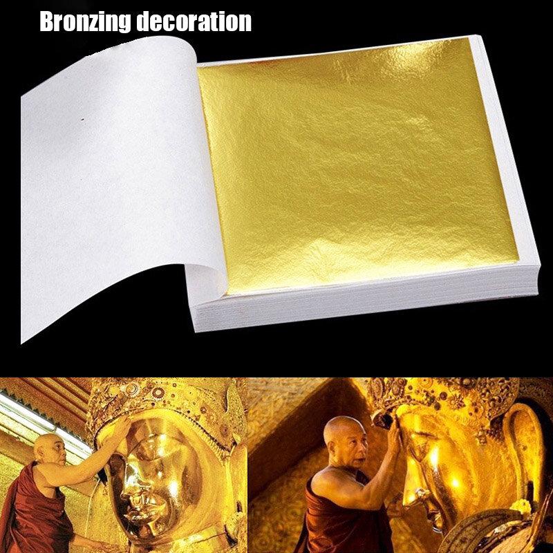 9x9 سنتيمتر 100 ورقة العملي K نقية لامعة الذهب ورقة ل التذهيب Funiture خطوط جدار الحرف اليدوية التذهيب الديكور