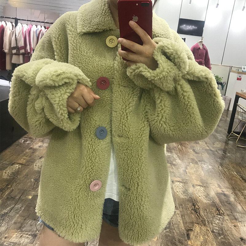 معطف فرو لون صغير مشبك رقيقة قصيرة سميكة معطف الصوف 2019 شتاء جديد