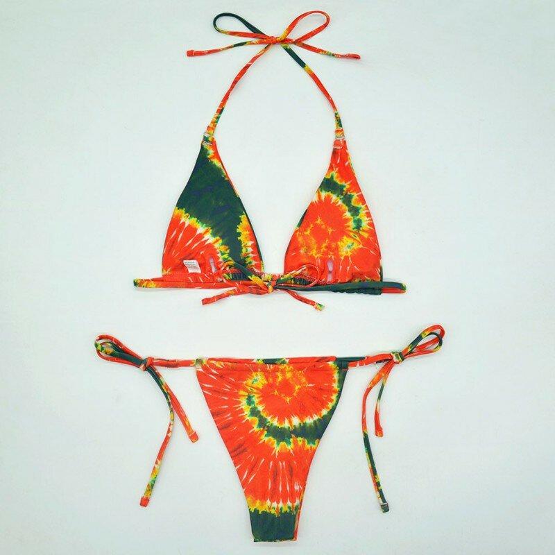 السيدات مجموعة البكيني المرأة طباعة ضمادة ملابس السباحة عالية الخصر قطع ملابس الشاطئ ثوب السباحة