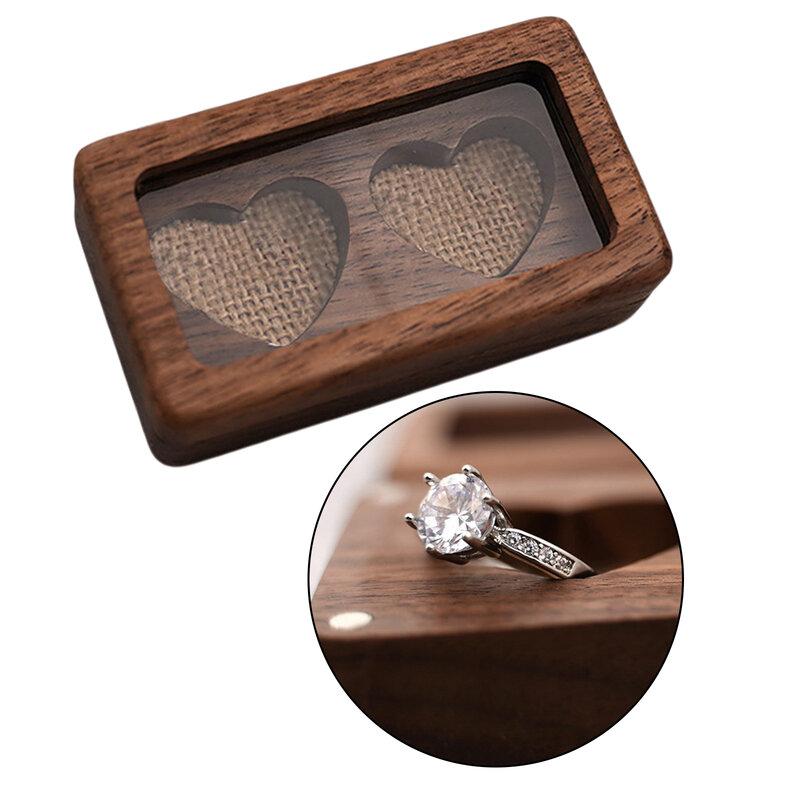 صندوق مجوهرات خشبي خشبي علبة حاوية حاوية لخواتم قلادة هدية للفتيات أو النساء نمط خمر