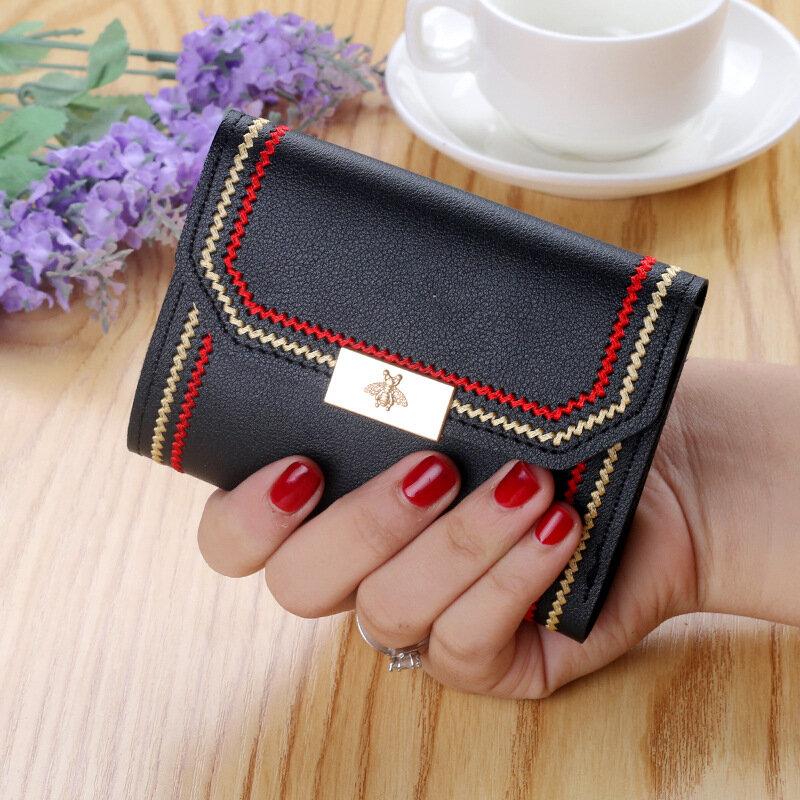 السيدات قصيرة محافظ متعددة بطاقة حامل بطاقة موقف المرأة لينة حقائب يد جلدية الإناث المال جيوب غلق بمشبك محفظة للعملة كيس فام
