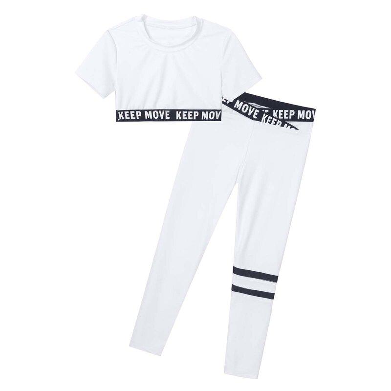 بدلة رياضية بناتي للأطفال بأكمام قصيرة مطبوع عليها حروف سراويل قصيرة طقم يوجا بدلة أطفال للجمباز بدلة جري وتمارين الجيم