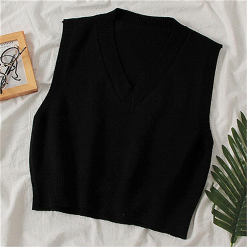 موضة الخريف سترة النساء 2020 المرأة الكورية أنيقة طالب الخامس الرقبة البلوز فضفاضة عادية الحياكة القمم ملابس خارجية سترة PZ3410