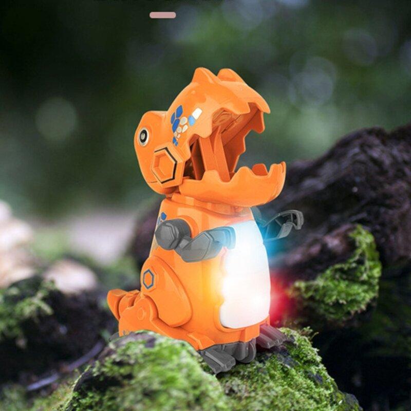 D7WF الجمود لعبة ديناصور البيئي الأصلي تصميم متعدد الألوان ضوء التنفس دفع الذهاب الأطفال الفتيان الفتيات الاطفال الهدايا