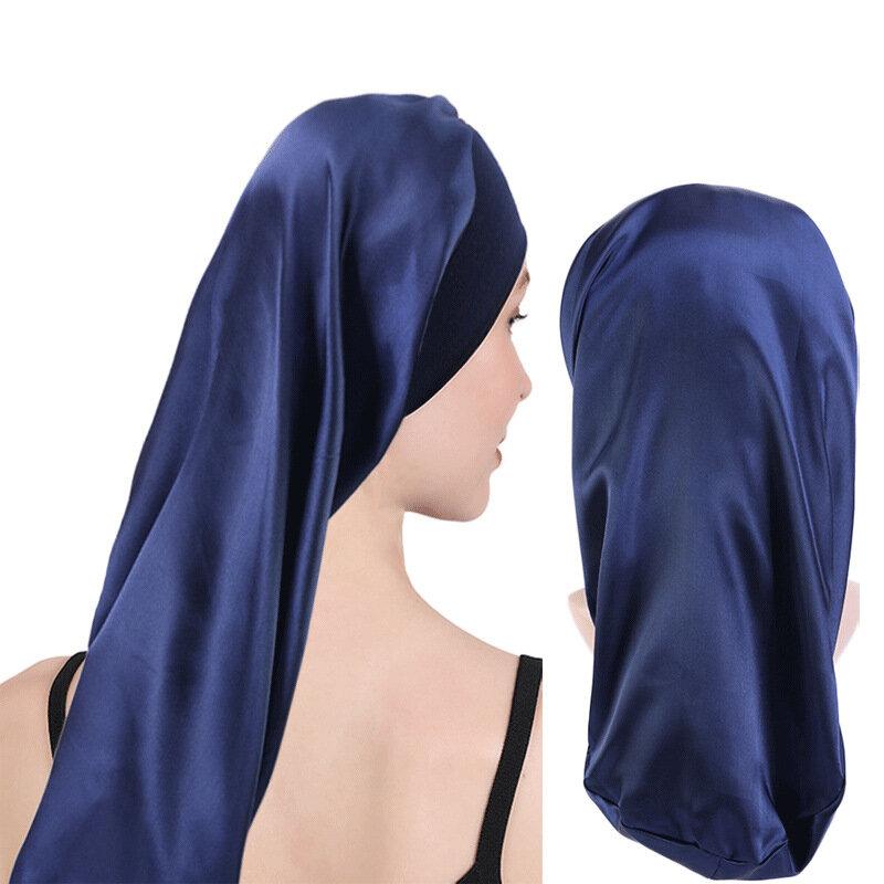 مرونة واسعة حافة الساتان بونيه طويل الشعر قبعة النوم القبعات التفاف قبعة الليل العناية بالشعر بونيه للنساء الرجال للجنسين قبعة بونيه
