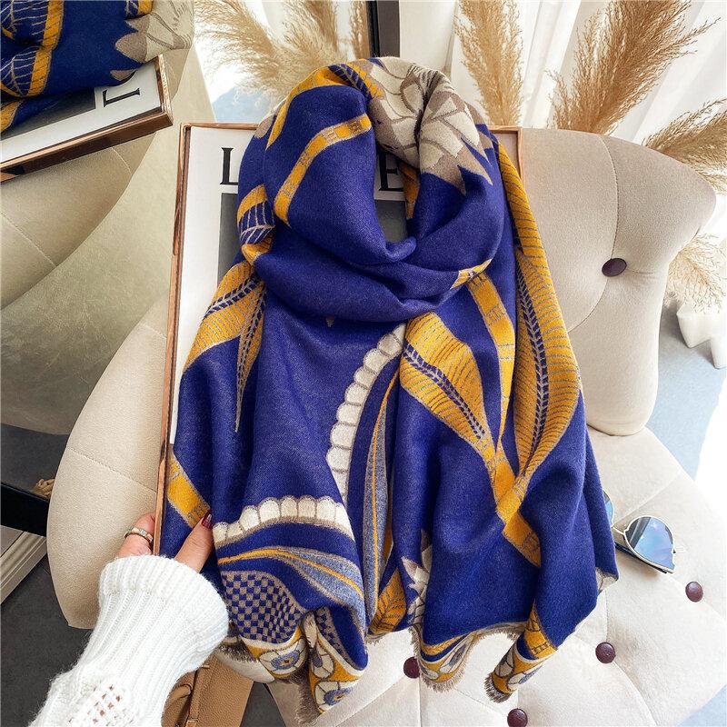 وشاح شتوي للسيدات شالات الباشمينا من الكشمير والأغطية بتصميم مطبوع بطانية سيدة سميكة دافئة شالات Bufanda للسيدات جديد 2021