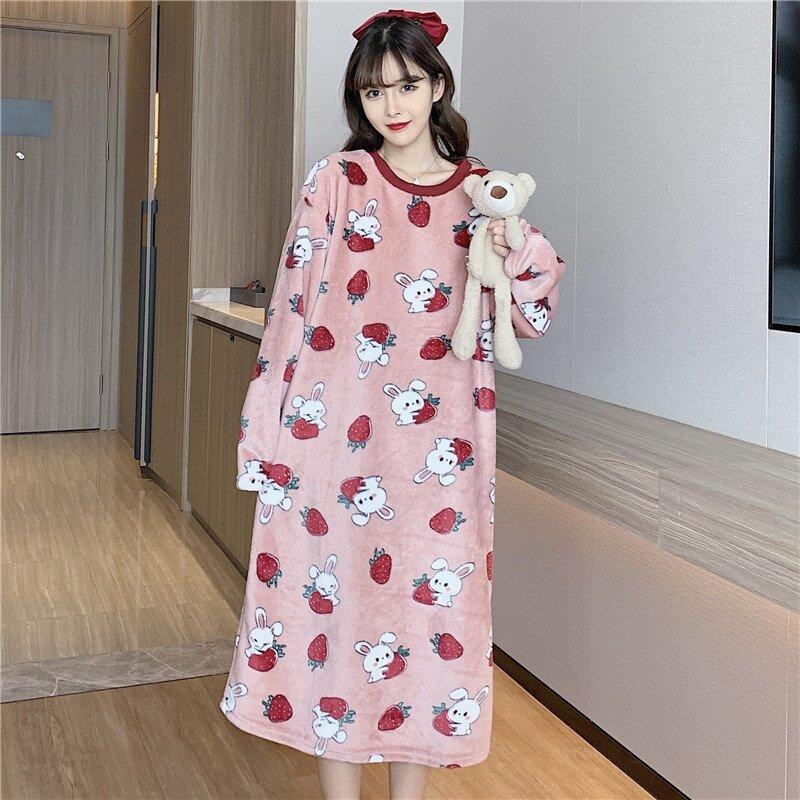 الشتاء طويلة الأكمام طباعة سميكة الدافئة الفانيلا قمصان النوم للنساء فستان طويل المرجان المخملية ملابس خاصة النوم فستان سهرة نايتي