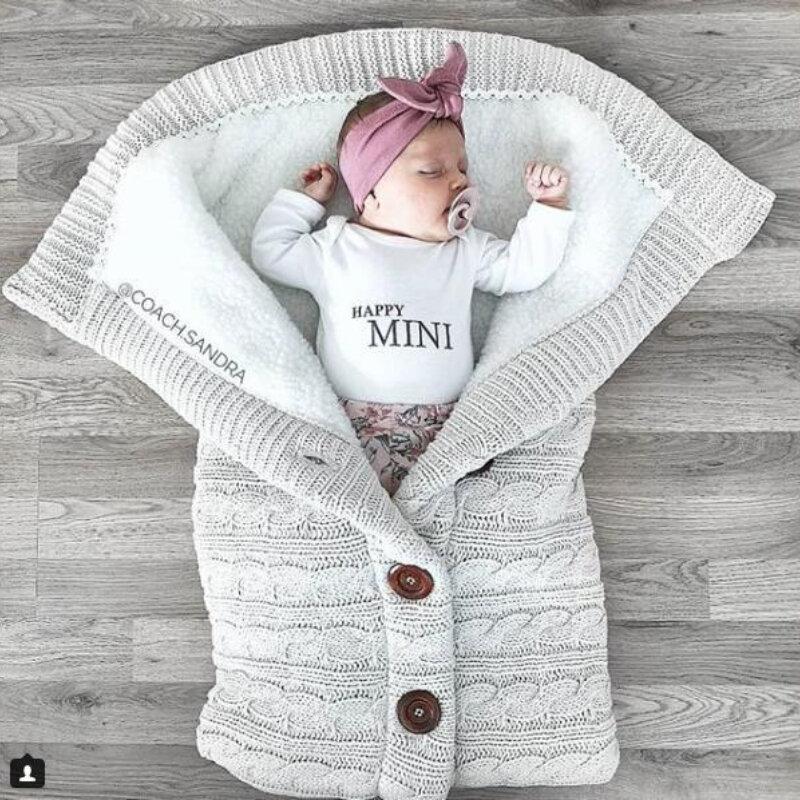 جديد الطفل كيس النوم الطفل سميكة زائد المخملية محبوك الدافئة كيس النوم الصوفية عربة كيس النوم