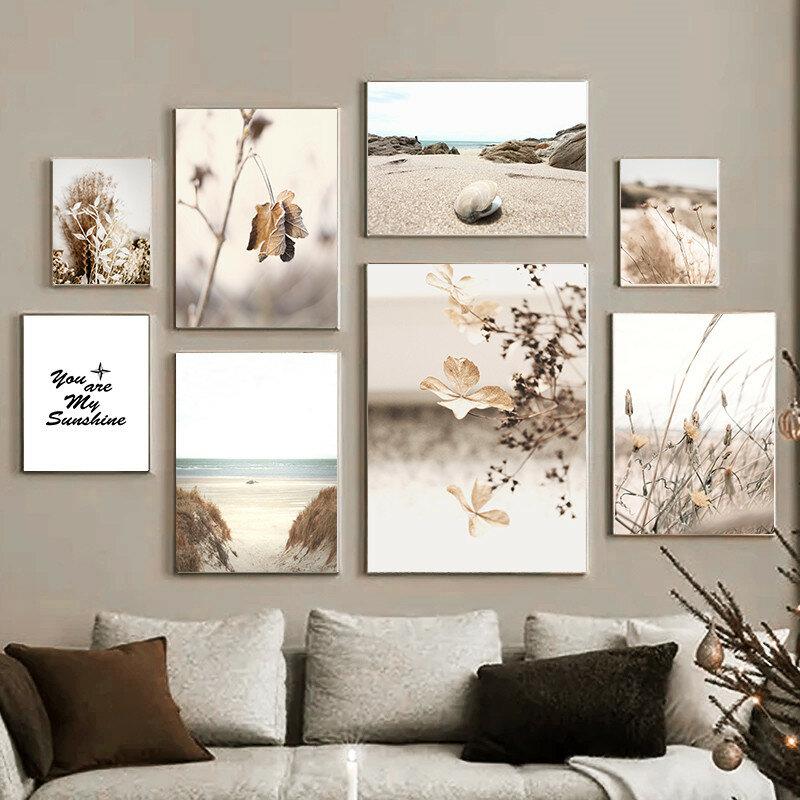 البرية ورقة الكوبية صدف الرمال شاطئ الرسم على لوحات القماش الجدارية الملصقات والمطبوعات جدار صور لغرفة المعيشة ديكور