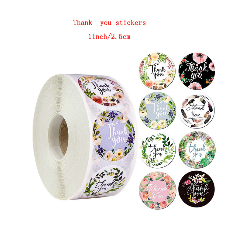 8 أنواع من الزهور ، شكرًا لك ، ملصق قابل للطباعة ، 1 بوصة ، لف هدايا أعياد الميلاد ، أدوات مكتبية