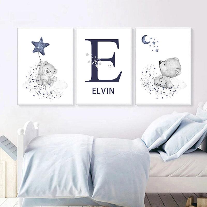 سحابة الدب قماش طباعة مخصص اسم الجدار ملصق فني الأزرق نجوم القمر اللوحة الحضانة يطبع الشمال جدار صور غرفة الطفل ديكور