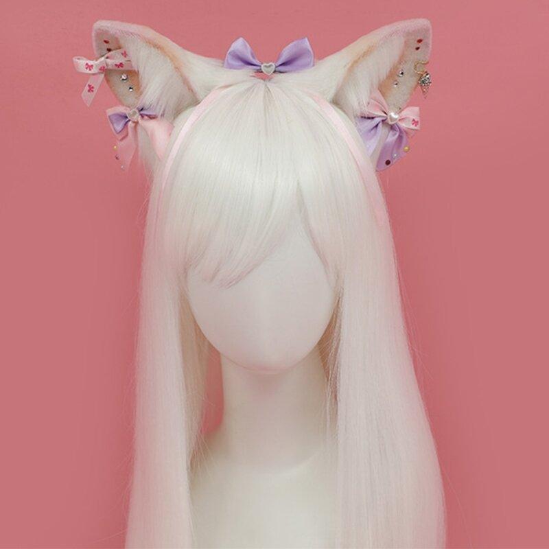 جميل آذان عقال فتاة تأثيري أفخم الوحش الأذن أفخم فروي أغطية الرأس الإكسسوار إِلْكَة عيد الميلاد سماعة أذن القوس عقال