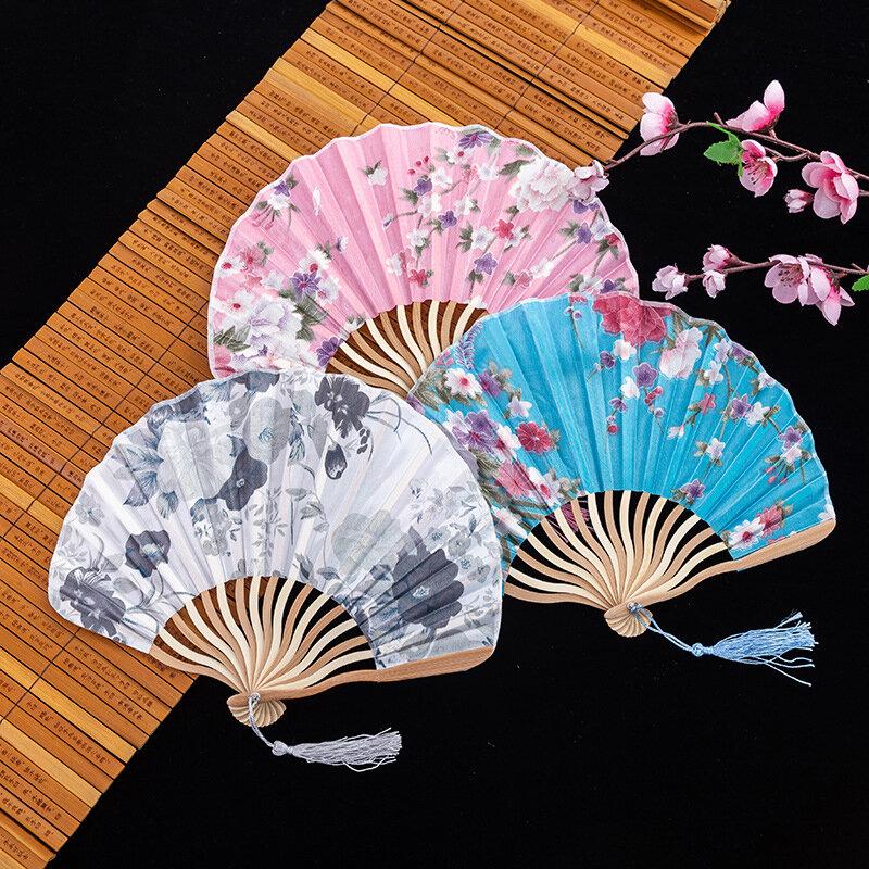 الصيف الفن مروحة قابلة للطي نمط الأزهار مع شرابة الرقص باليد زهرة مروحة الحرف الفن الأداء مهرجان هدية ديكور المنزل