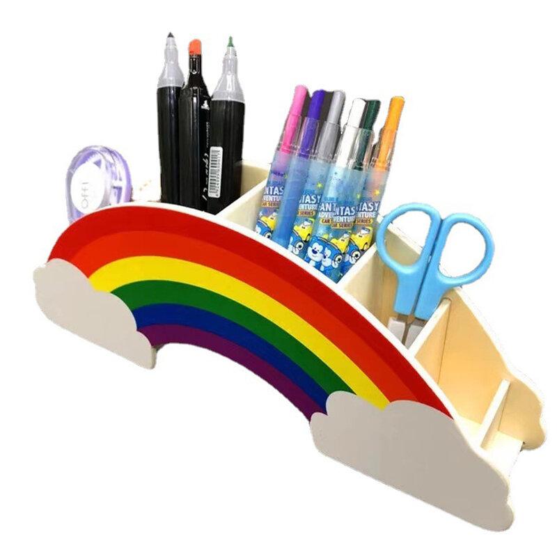 حامل أقلام خشبي الإبداعية قوس قزح سطح المكتب القرطاسية المنظم متعددة الوظائف يشكلون فرشاة حامل القلم الرصاص للمكتب