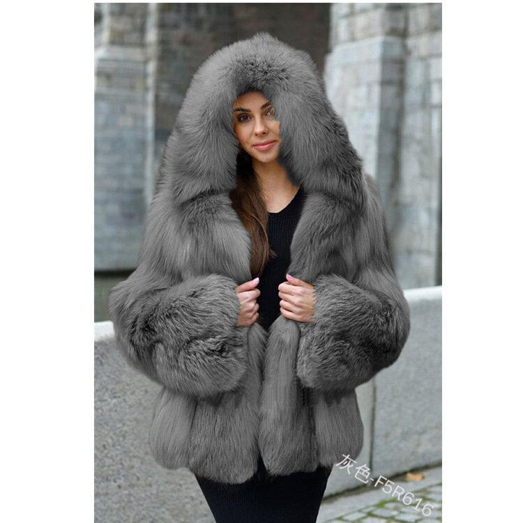 إمرأة شتاء رشاقته الثعلب معطف الفرو مقنعين فو الفراء معطف دافئ فضفاض سترة حفلة B2