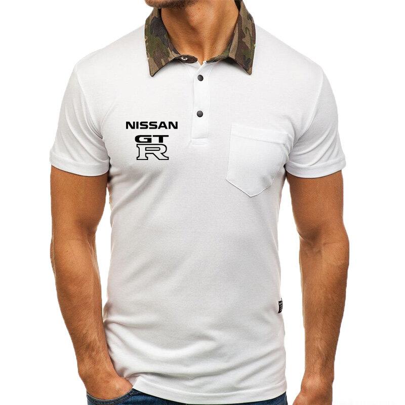 جديد في 2020 الصيف الرجال بولو قصيرة الأكمام شعار سيارة GTR المطبوعة الرجال قصيرة الأكمام عالية الجودة القطن الرجال بولو قصيرة الأكمام