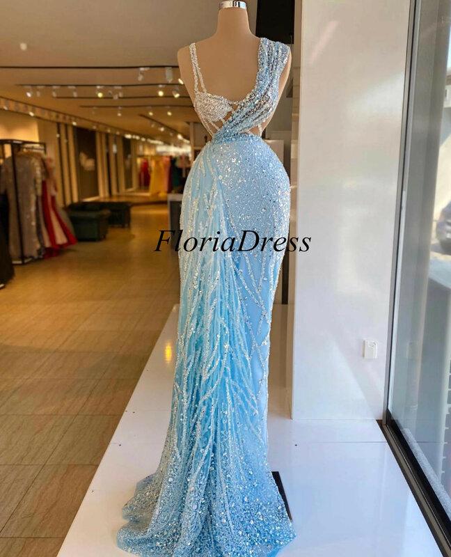 2021 جديد فستان المشاهير مناسبة خاصة ثوب امرأة الملابس الضوء الأزرق اللون فساتين رسمية طويلة فيستدوس دي فييستا CXF279
