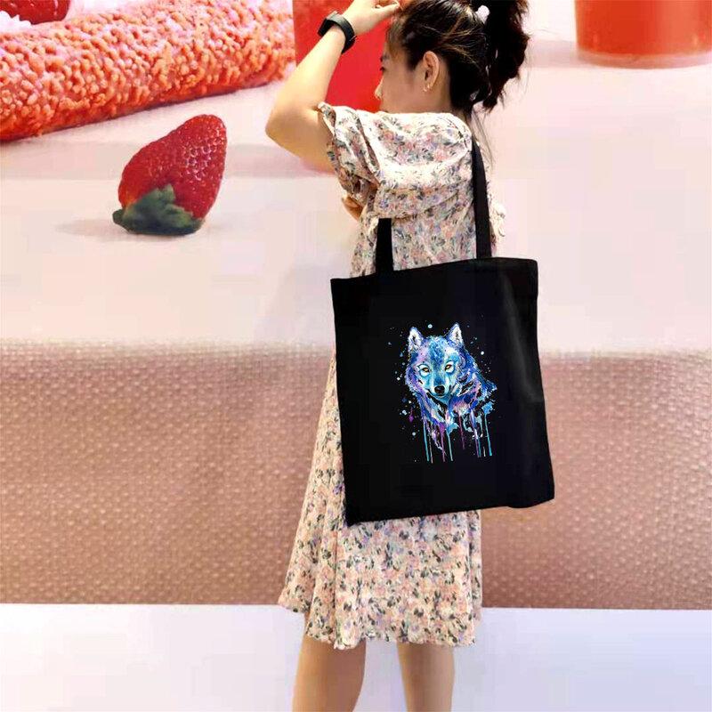 الأسد النمر المتسوق حقيبة يد بوهيميا قابلة لإعادة الاستخدام حقيبة تسوق تخزين حقائب بيد الكتف أنيمي مع الطباعة سستة Totebag ايكو
