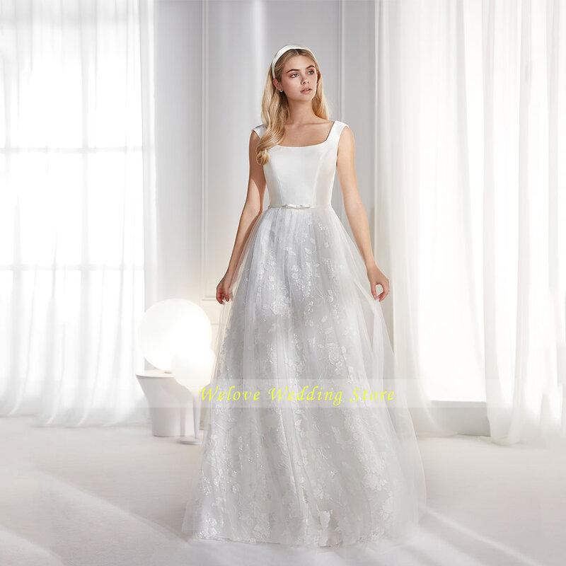 فساتين زفاف بسيطة أشرطة ساحة طوق ألف خط تول الأبيض القوس عارية الذراعين زر الرجعية الأميرة ثوب زفاف أحدث