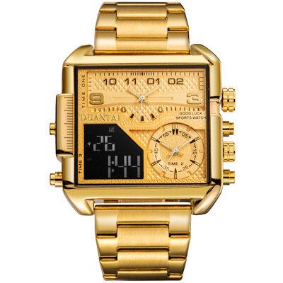 ساعة مصدر حزام مربع ثلاثة حركة متعددة الوظائف الاتجاه ساعة شخصية