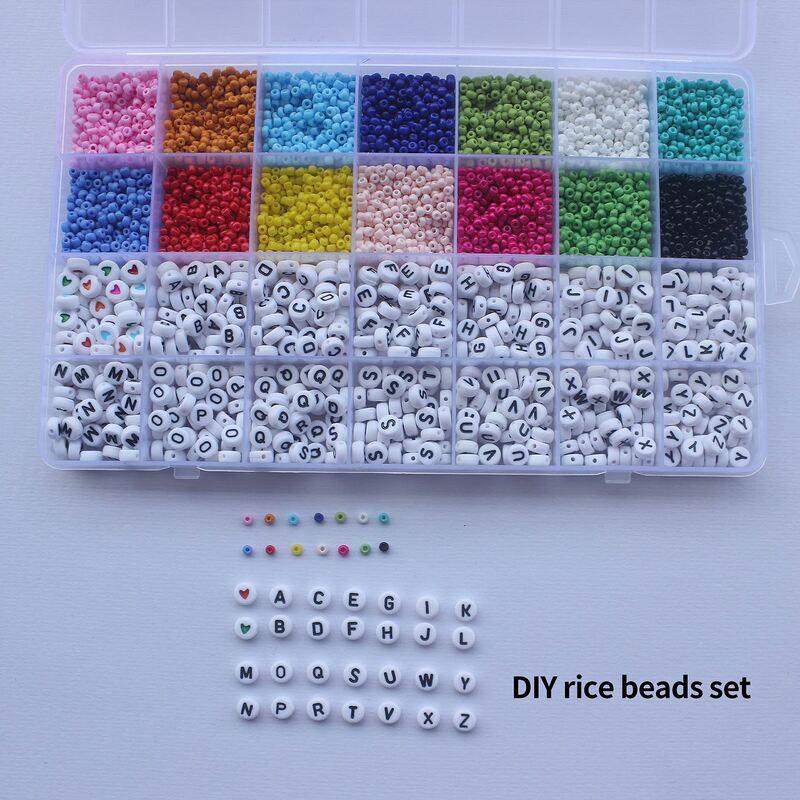 لتقوم بها بنفسك الزجاج حبة مجموعة المنزلية روكايل الخرز متعدد الألوان الخرز الصغيرة خيوط الأبجدية خزر عازل مع رسائل للمنزل