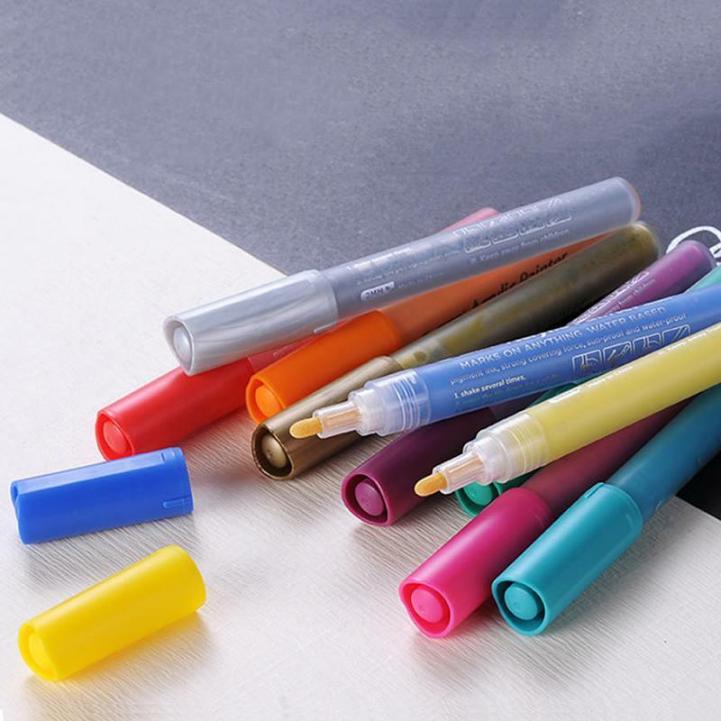 الاكريليك رسم الكتابة على الجدران قلم تحديد 12 ألوان توقيع القلم السيراميك الأسود بطاقة القلم الرسم الملون القلم اللوازم المكتبية المدرسية