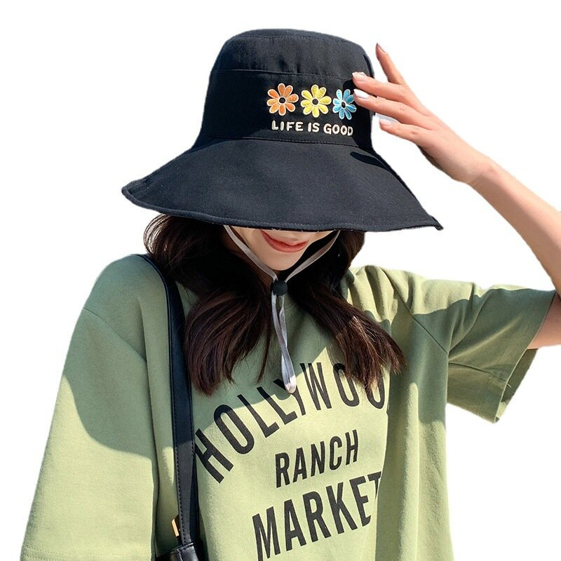 زهرة التطريز على الوجهين الشمس دلو القبعات النساء الشاطئ عكسها الصيف بنما قبعة الصيد الأسود القطن الفتيات صياد قبعة