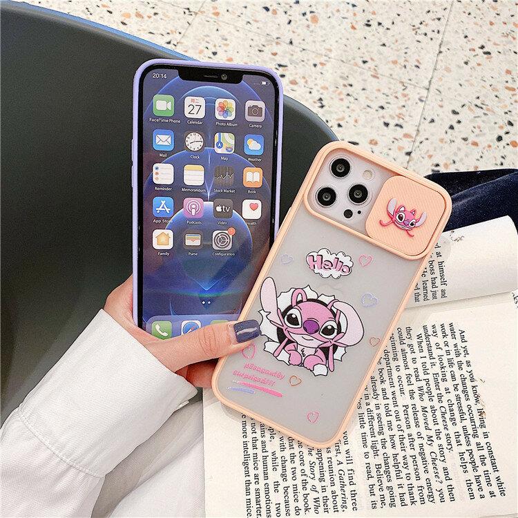 ليلو ستيتش ديزني حافظة هاتف لينة تي بي يو لطيف أنيمي حامي حالات آيفون 12 برو ماكس 11 7 8 X XS انزلاق عدسة واقية