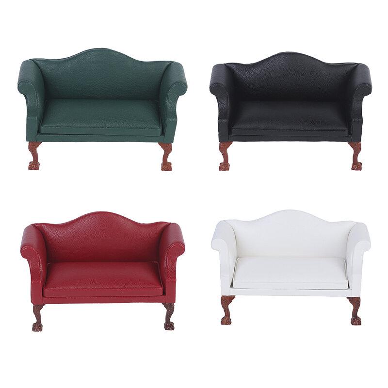 متعددة اللون! 1:12 دمية مصغرة أريكة جلدية مزدوجة أريكة بيت الدمية ديكور غرفة المعيشة
