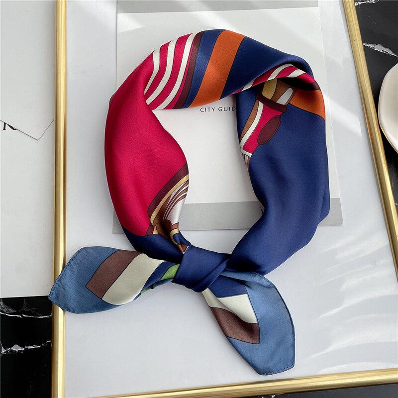 2021 الربيع ساحة وشاح للنساء تصميم سلسلة طباعة وشاح بملمس الحرير رباط شعر Foulard أنثى مكتب منديل سيدة باندانا