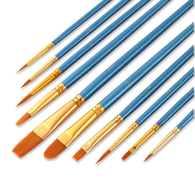 اللؤلؤ الأزرق النايلون النفط الطلاء فرشاة فرشاة ألوان مائية اللوحة الرقمية 10 مجموعات طالب الطفل اللوحة الفن لوازم فرشاة ألوان مائية