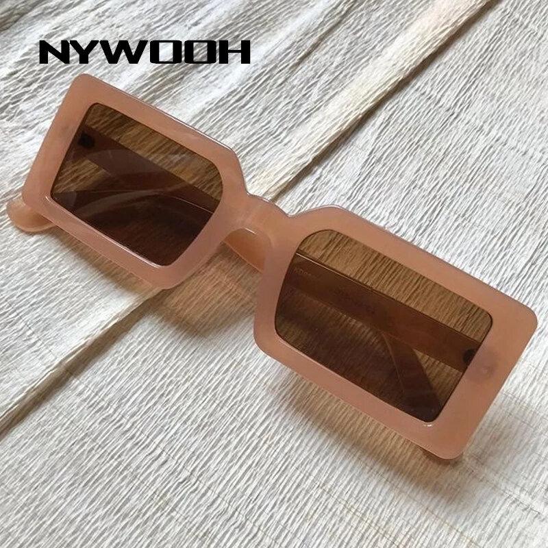 NYWOOH-نظارة شمسية ريترو مربعة للنساء والرجال ، نظارات شمسية صغيرة مستطيلة ، عصرية ، UV400