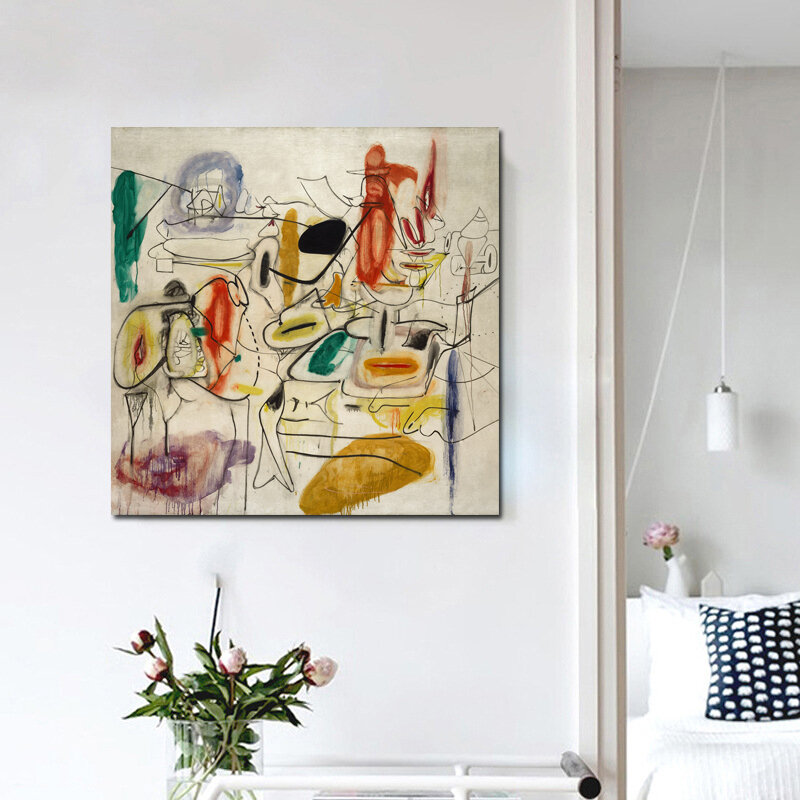 Arshile Gorky مجردة اللوحة الرسم على لوحات القماش الجدارية الملصقات يطبع لوحات الرسم بالطلاء جدار صور لغرفة المعيشة ديكور المنزل