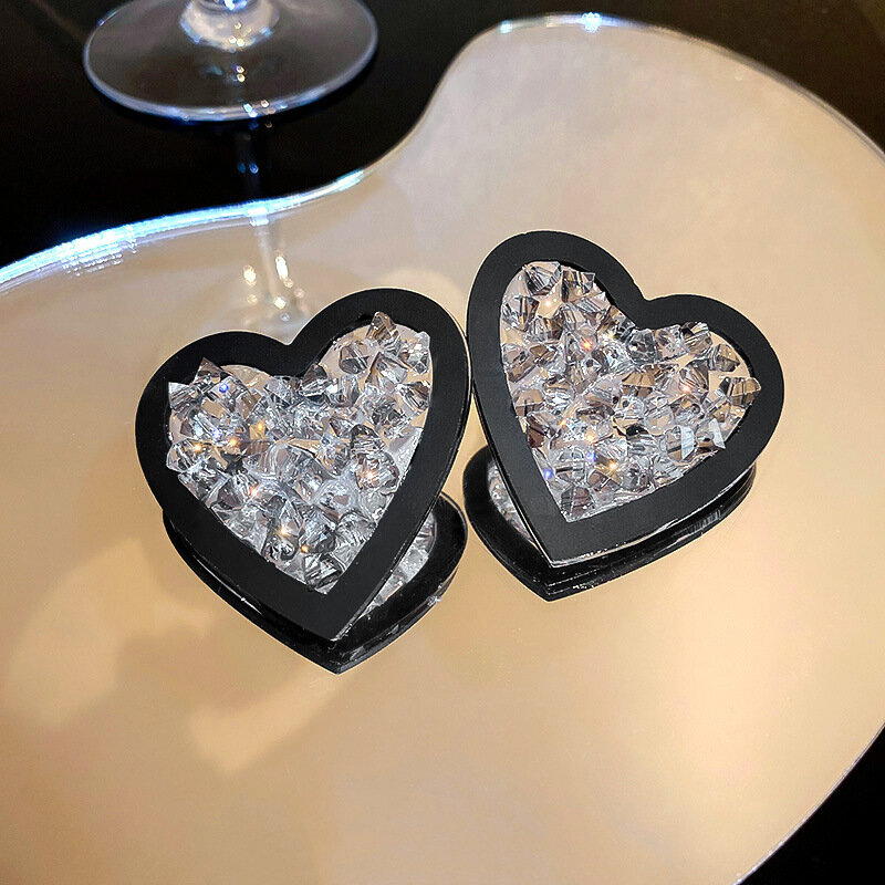 Hyperhyperbole كوب غير منتظم الشكل الأسود القلب أقراط بفص بأشكال للمرأة حفلة فاخرة غير عادية أقراط موضة هدية