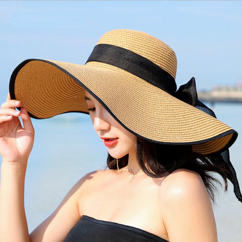 الصيف كبير حافة القش قبعة مرِنة واسعة حافة قبعة واقية من الشمس Bowknot شاطئ طوي القبعات جديد 2019 القبعات للنساء