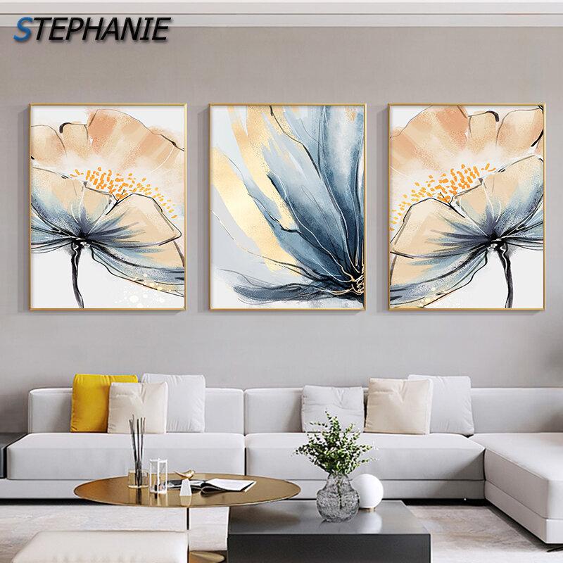 الحديثة مجردة زهرة جدار الفن اللوحة الفاخرة فندق الديكور الشمال قماش طباعة ملصق لغرفة المعيشة غرفة نوم المنزل صورة