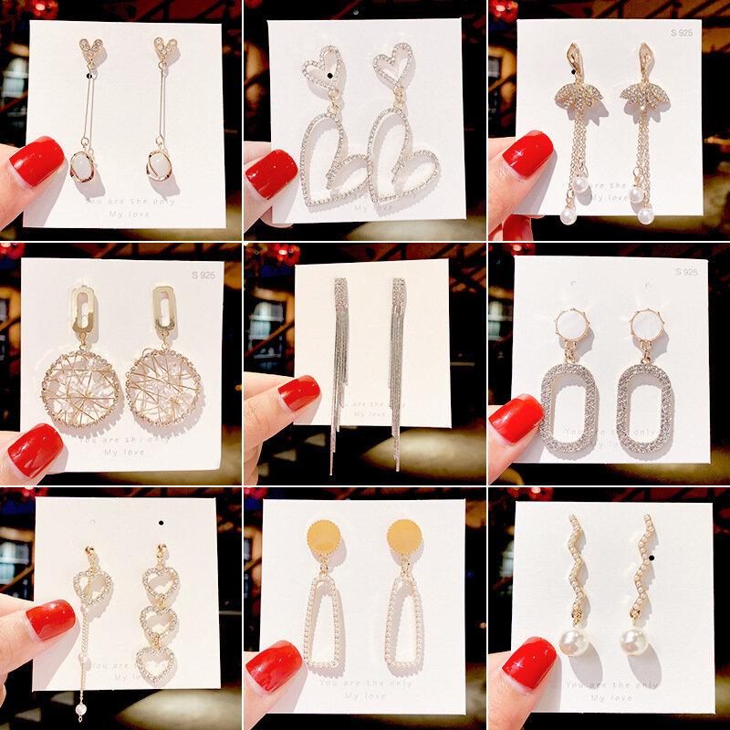 الجملة مجوهرات الأزياء الكورية أقراط 2020 الفولاذ المقاوم للصدأ أقراط الإناث مزاجه شرابة طويلة هندسية مجوهرات