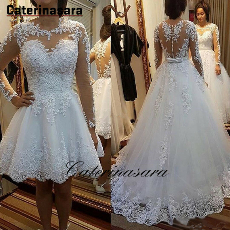 فستان زفاف الأميرة مع ذيل قابل للفصل ، ثوب الكرة ، الدانتيل ، اللؤلؤ ، مجموعة جديدة