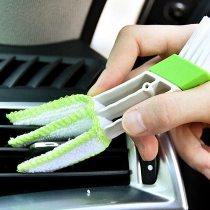 منظف فتحة الغبار لمكيف السيارة المزدوج ، أداة وحدة التحكم ، فرشاة الغبار ، نافذة السيارة ، فرشاة التنظيف الداخلية